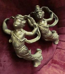 Antique French Empire Rococo Ormolu Bronze Mermaid Figurative Furniture Mount