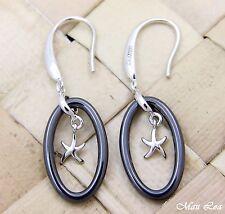 925 Silver Rhodium Hawaiian Starfish Sea Star Black Ceramic Oval Hook Earrings