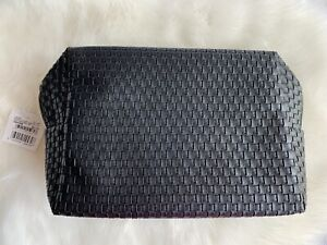 SpaceNK Cosmetic Makeup Leather Bag In Black