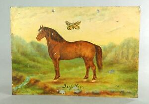 ^ Antique American Folk Art Oil on Tin Horse Portrait, Signed JUPITER