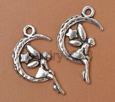 30pcs Tibetan Silver Charm Star Moon Angel Girl Pendant Accessories 25mm F3376