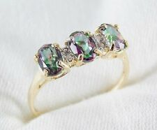 Genuine 1.29ct Mystic Topaz & Diamond Ring in 10k Yellow Gold Size 7.5 List $398