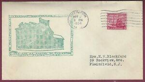 Trenton, NJ, Postal Cover, 150 Year Anniversary of trenton as US Capital, 1934
