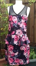 Dress With Mesh Insert By Quiz Size 14 With Peplum Pink & Black Wedding