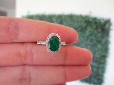 1.31 Carat Emerald with .45 CTW Diamond Ring 18K White Gold R153 sep