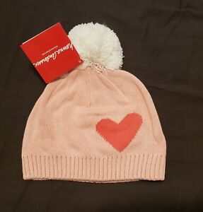 Hanna Andersson Hat M Medium 3-6 years Pink White pompom heart NEW