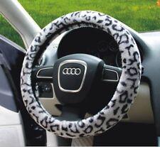 "Warm Fuzzy Auto Van Car Suv Sedan Plush Steering Wheel Cover 15"" LEOPARD Gray"
