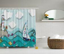 Blue Green Ocean Lighthouse Beach Fabric Shower Curtain Digital Art Bathroom