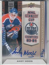 2013-14 Edmonton Oilers Collection Championship Banners Andy Moog Auto #'D 19/25