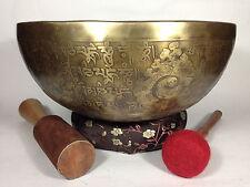 "10.5"" Double Dorje Tibetan Mantra Symbols carved Healing and Yoga Singing Bowl"