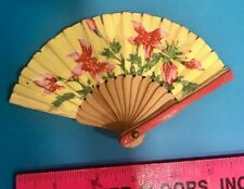 Vintage Mini Paper & Wood Floral Fan