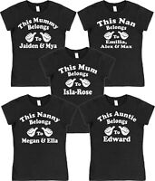 Personalised Mum Mummy Nan Nanny Auntie Belongs To T-Shirt Loose or Fitted