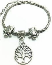 Fashion Tibetan Silver Lucky Tree Charm Bracelet Chain Bangle Sea turtle beaded
