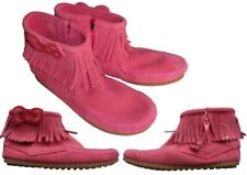 New Minnetonka Toddler Girls Hello Kitty Fringe Suede Boots Moc Toe Pink Size 11