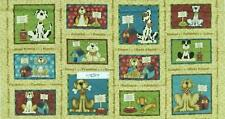 Patchwork Quilting Sewing Fabric RESCUE DOGS CUTE Panel 60×110 cm Material NEW