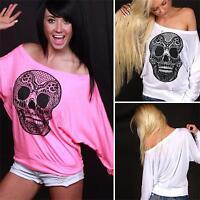 Women Skull Long Sleeve Sweatshirt Jumper Tops Lady Casual Loose T-Shirt Blouse