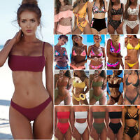 Women Bandage Bikini Push up Padded Bra Swimsuit Bathing 2pcs Set Swimwear Beach