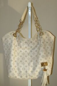 LOUIS VUITTON Hand Bag Tote White Monogram Leather Limited Edition France
