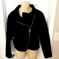 BAGATELLE Womens Jacket Size 3X Black Quilted Velvet Moto Angle Zip Front New