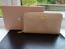 100% Authentic PRADA / MIU MIU Nude / Beige Leather Purse Wallet !LOOK INSIDE!