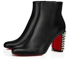 Christian Louboutin Suzi Folk 85 Black Leather Silver Spike Ankle Heel Boot 40