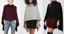 Topshop Pancho Cape Cardigan Knitwear Top Grey Black Burgundy One Size