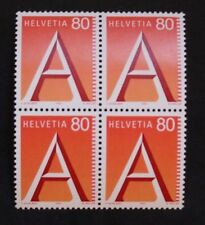 Sello SUIZA / Suiza Stamp - Yvert y Tellier nº1417 x4 N (Cyn27)