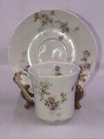 Theodore Haviland Limoges Floral Rose Demitasse Tea Cup Saucer France