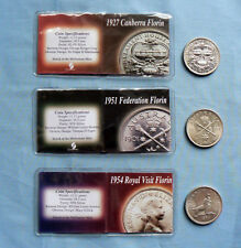 3x FLORINS Bulk Lot 1927 Canberra 1951 Federation 1954 Royal Visit Florin coin