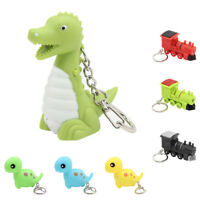 Cartoon Dinosaur Bear kawaii LED Light Up Keychain Key Ring with Sound Hot