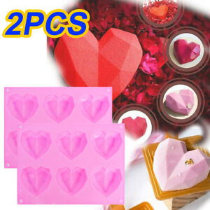 3D Silicone Heart Fondant Mould Cake Chocolate Baking Mold Candy Jelly Soap Tray
