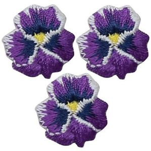 """Mini Pansy Applique Patch - Flower, Bloom, Violet .75"""" (3-Pack, Iron on)"""