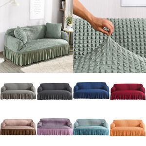 1/2/3/4 Seater Elastic Sofa Covers 3D Bubble Lattice Couch Loveseat Slipcover