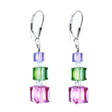 Multi Color, Cube Earrings made w Swarovski Crystal Elements S. Silver Leverback