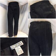 S.M.H. Leather Pants Sz 12 Black Rayon Trim Straight Leg Worn Once YGI K8-122