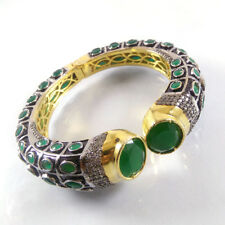 GREEN ONYX Gemstone Gold Plated & Oxidize Handmade Designer Cuff Bangle Bracelet