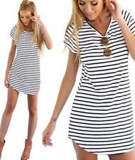 Casual Loose Mini Dress T Shirt Summer Short Sleeve Blouse Striped New Women