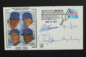 1969 NY METS SIGNED GENTRY GROTE KOONCE JONES AUTOGRAPH 1989 CACHET ENVELOPE M7