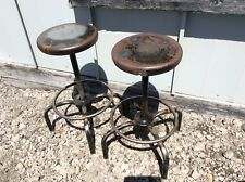 2 Vintage Ajusto Black Industrial Stools - Adjust 19� To 28� - 13� Seats - Good