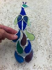 stained glass bird peacock suncatcher