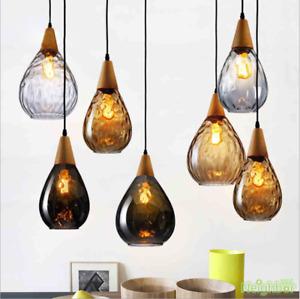 Vintage raindrop pendant lamp Led glass Ceiling light restaurant Wood chandelier