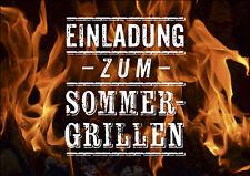 "Einladung Karte ""Grillen Barbecue"" –edel  neutral 10 Karten DIN A6 Postkarte 09"