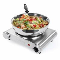 Hot Plate Cooking Portable Electric Single Burner 1500W 5 Power Levels Cast-Iron
