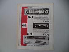 advertising Pubblicità 1966 AUTORADIO GRUNDIG AS 40/AC 50