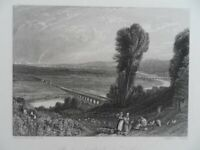 Genuine antique old engraving- French- Bridges of St Cloud and Serves