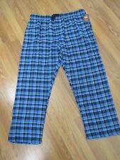 HANES, MEN'S NEW GRAY/BLUE COTTON ELASTIC PLAID FLANNEL LOUNGE PANTS, SIZE 2XL