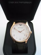 EMPORIO ARMANI WATCH AR1915 MENS ROSE GOLD WHITE DIAL BROWN LEATHER BNWT GENUINE