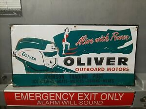Oliver Outboard Motors Embossed Metal Sign Farm Tractor Girl Swimsuit Skiing