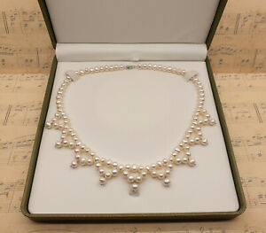 Vintage 925 Sterling Silver and Freshwater Pearl Dress Necklace with Box