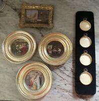 Vintage 5 PICTURE FRAME Lot Art Deco gold ornate scroll Pocket Watch estate